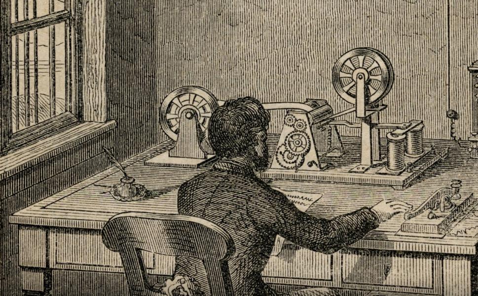 Ein Holzstich, der Arbeit in einem Telegraphenbüro abbildet.