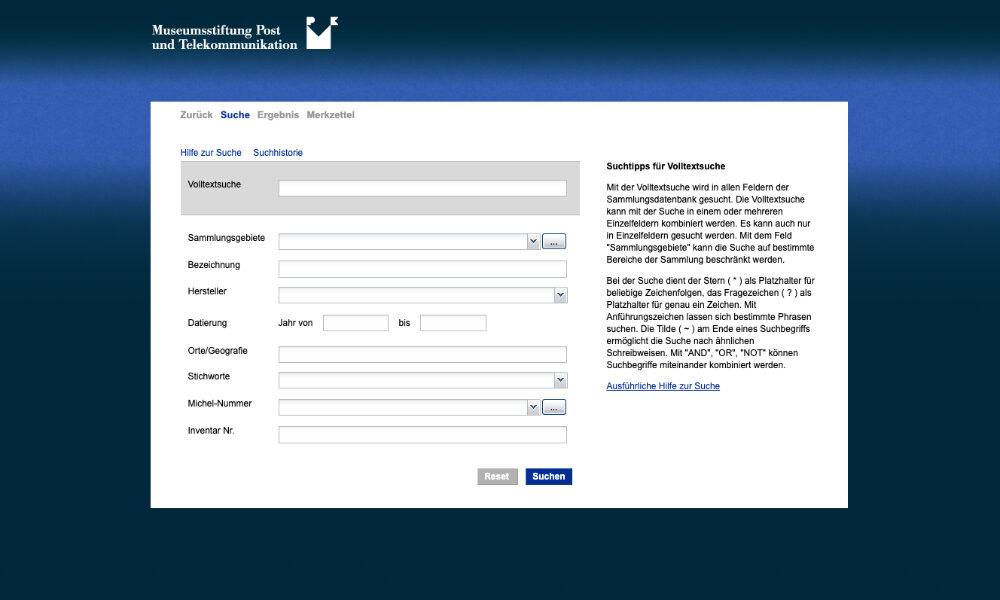 Objektdatenbank Suche der Museumsstiftung Post und Telekommunikation